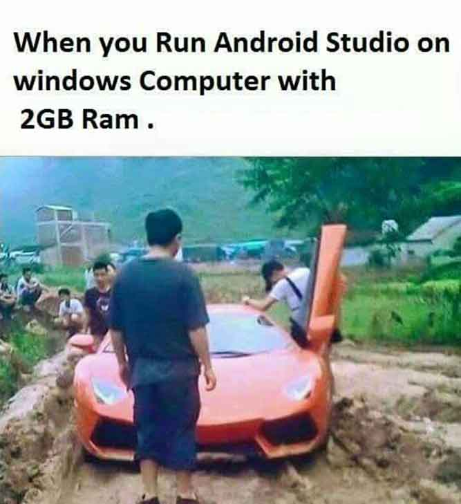 When you run Android Studio on a Windows computer with 2GB of ram