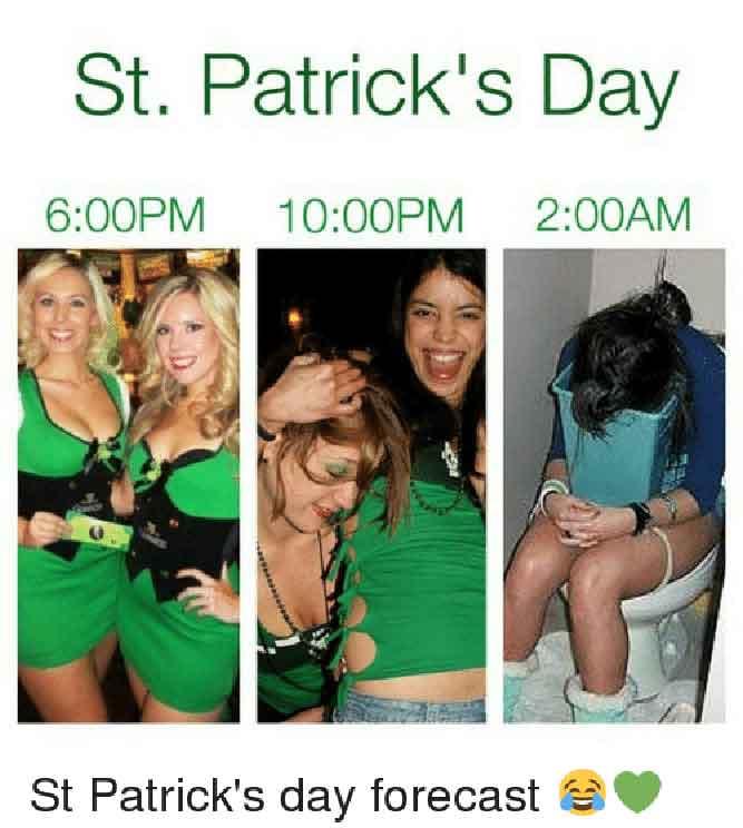 St. Patrick's Day forecast - 6:00 PM - 10.00 PM - 2.00 AM - happy st patricks day meme