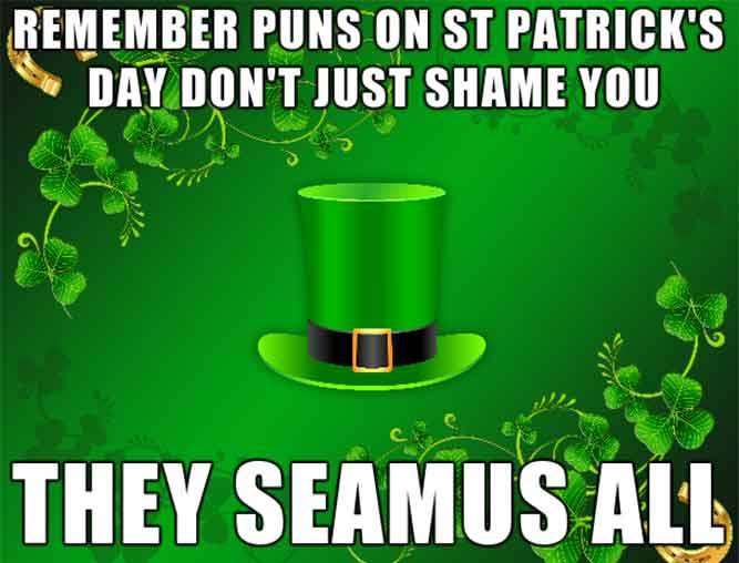 Remember Puns on St. Patrick's Day don't Just Shame You - They Seamus